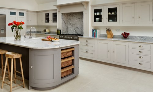 Harvey Jones grey Shaker kitchen