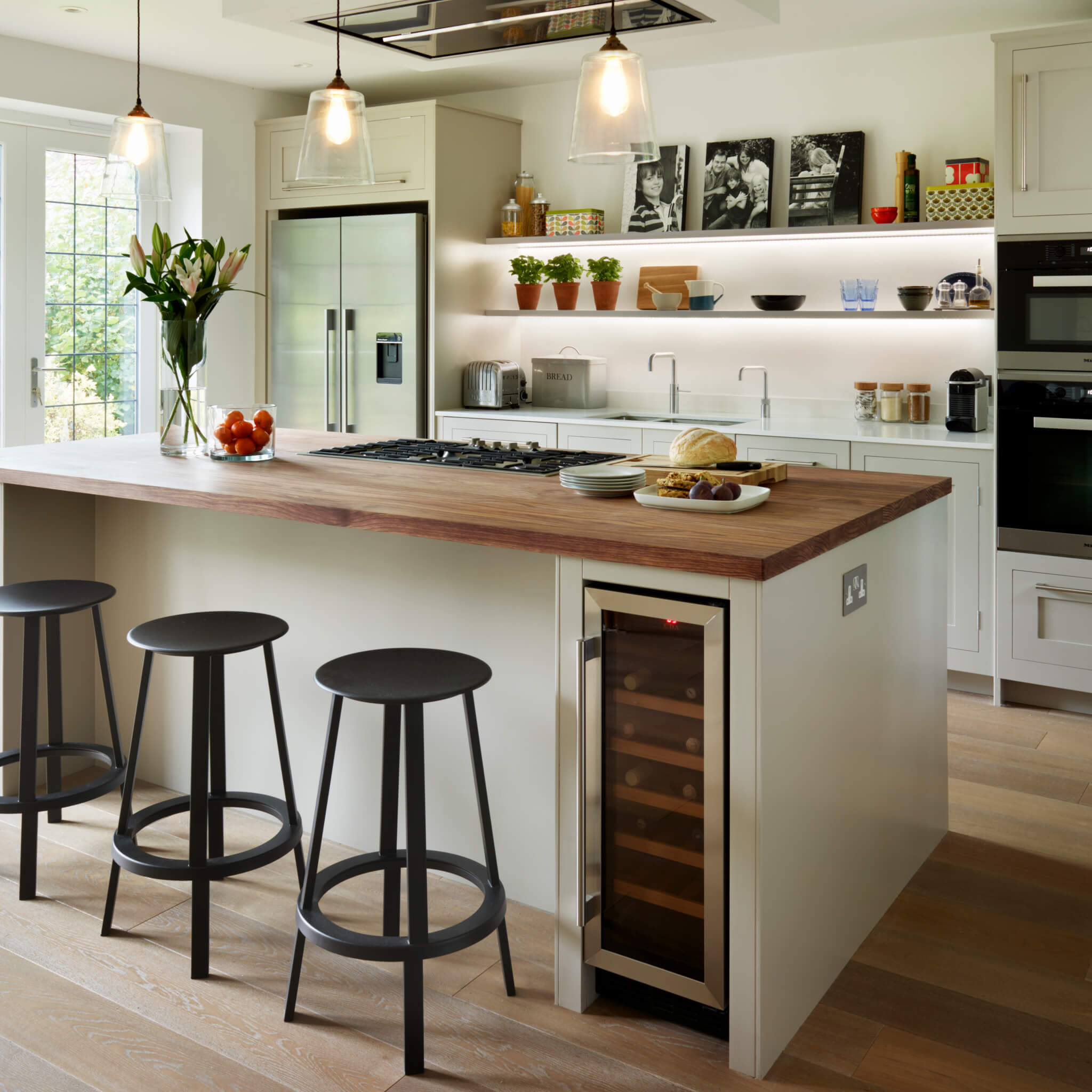 Semi-Open Plan Shaker Kitchen With Island Seating