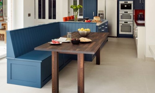 Harvey Jones kitchen with painted blue bench