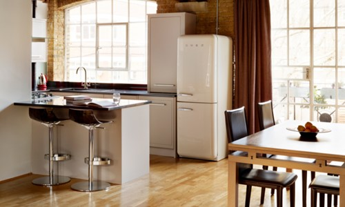 Harvey Jones kitchen with white Smeg fridge