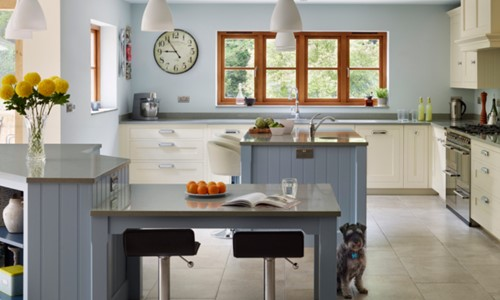 Harvey Jones kitchen with baby blue details