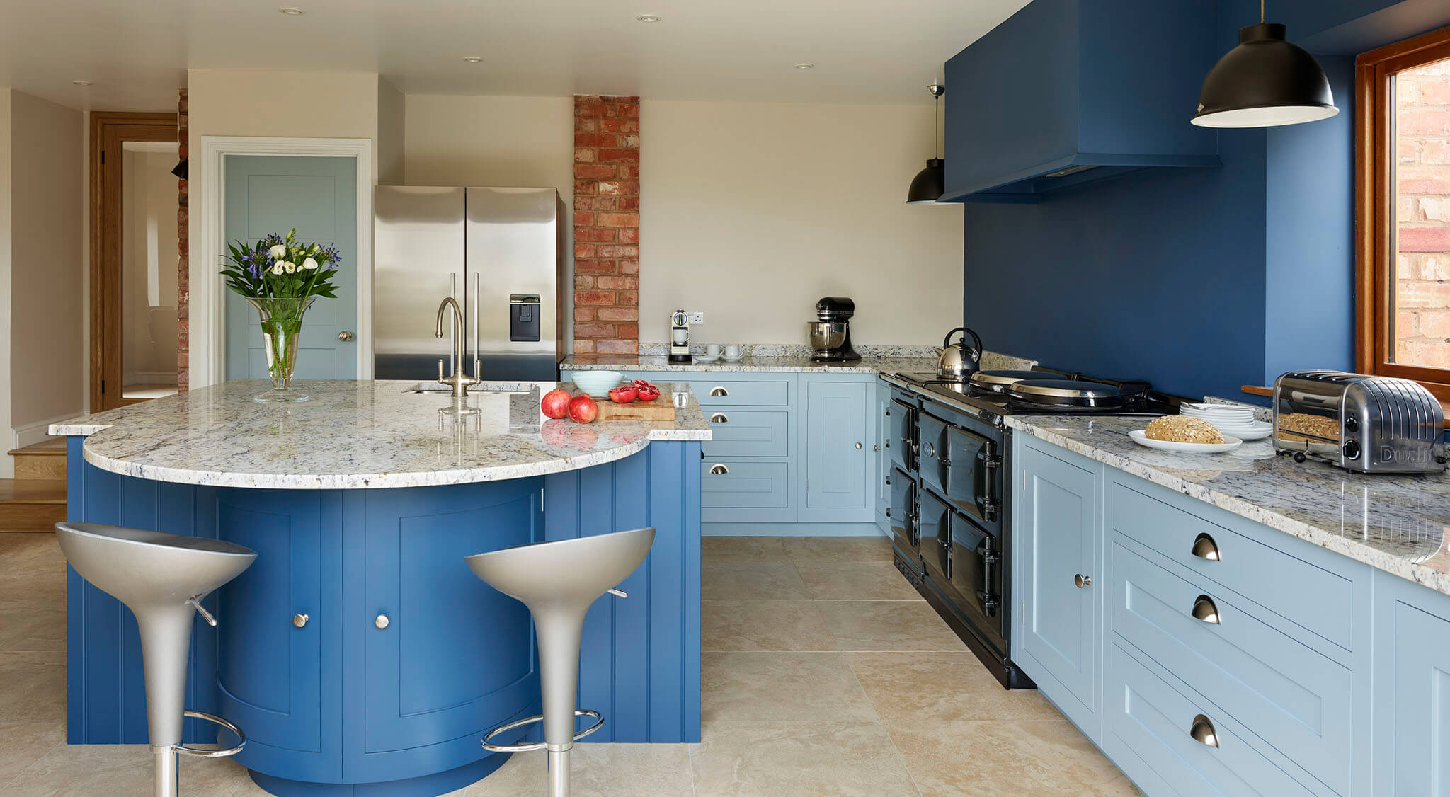 Blue Shaker Kitchen With Curved Cupboards