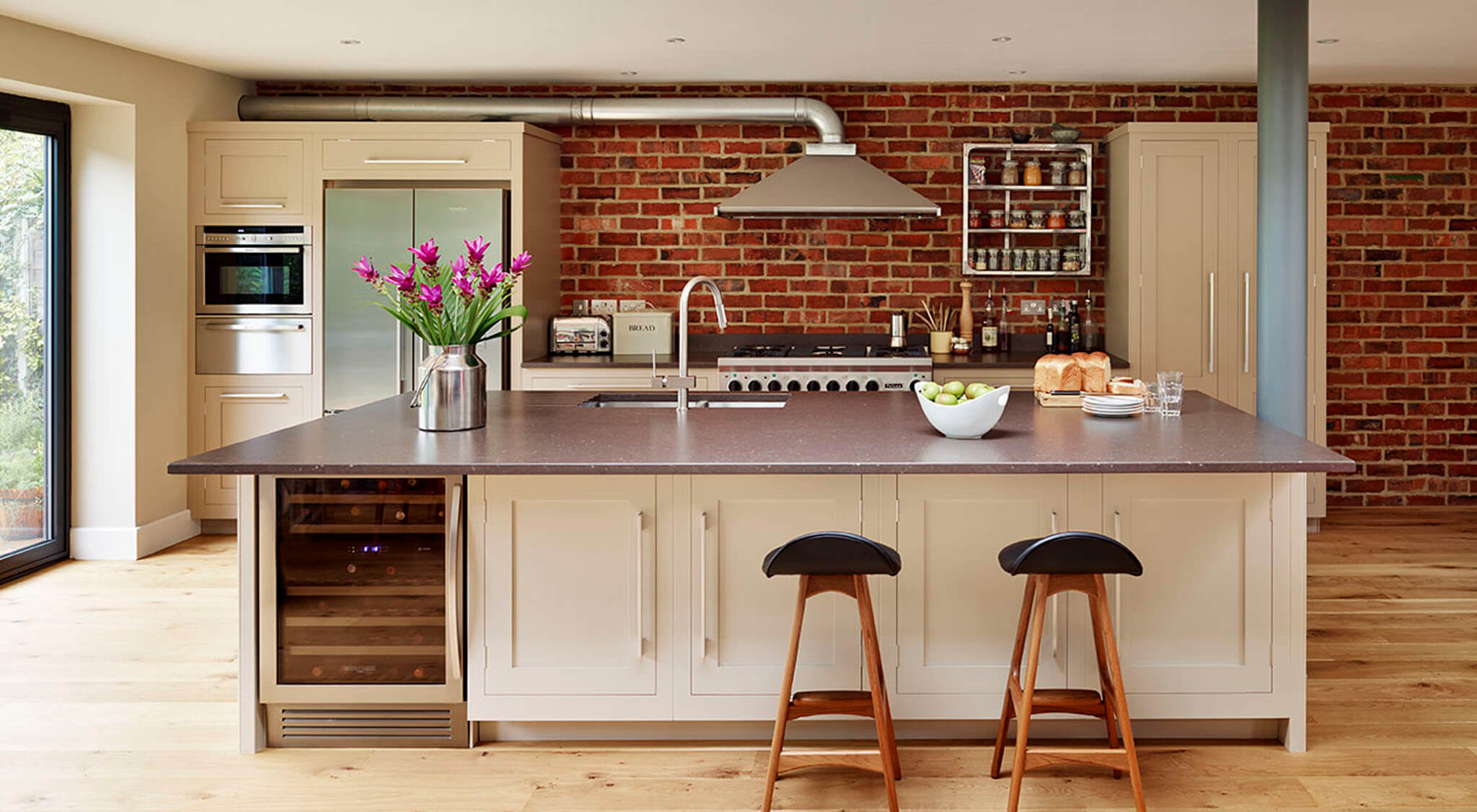 Shaker Kitchen Design With Exposed Bricks