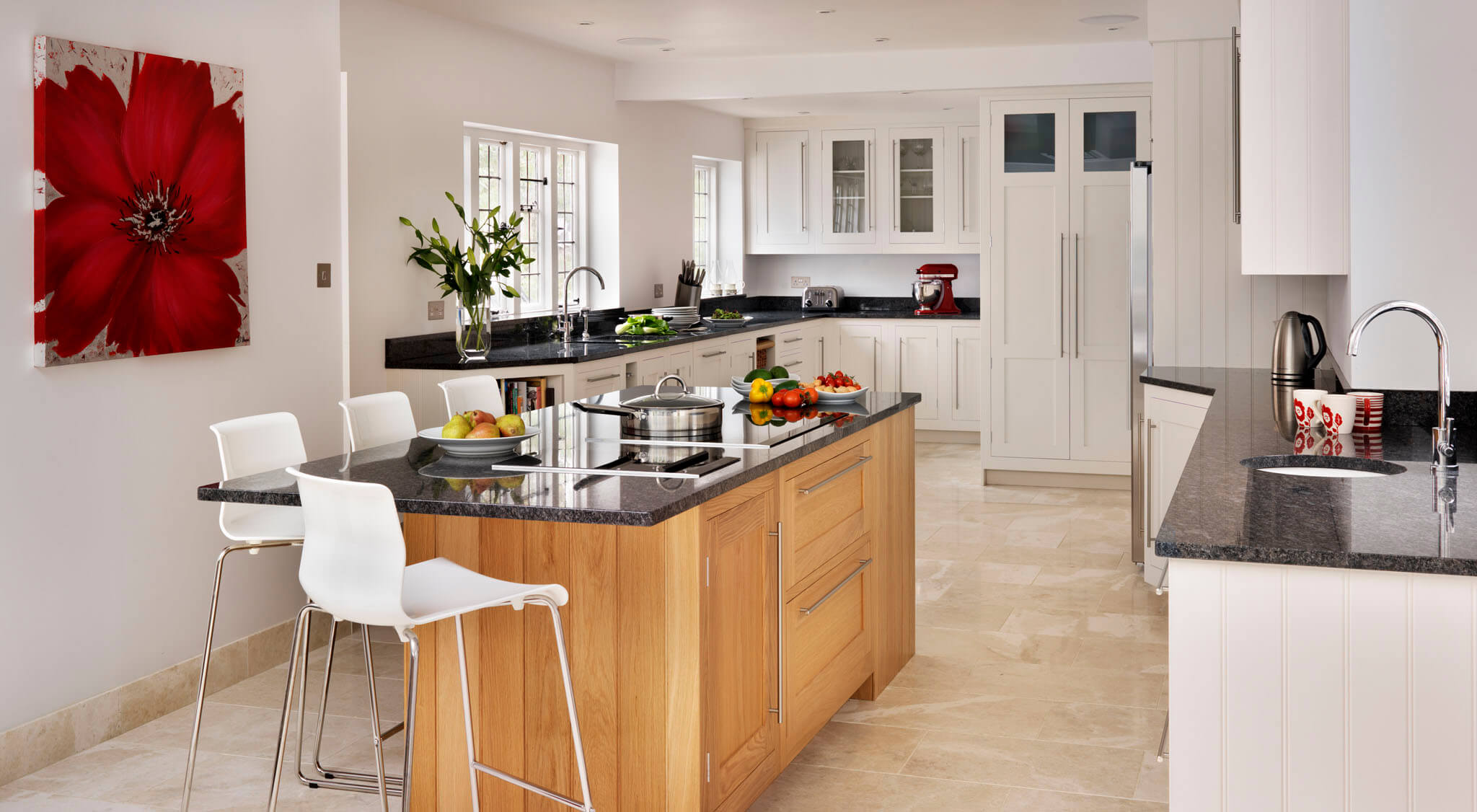 Open Plan Oak And Grey Painted Shaker Kitchen With Island