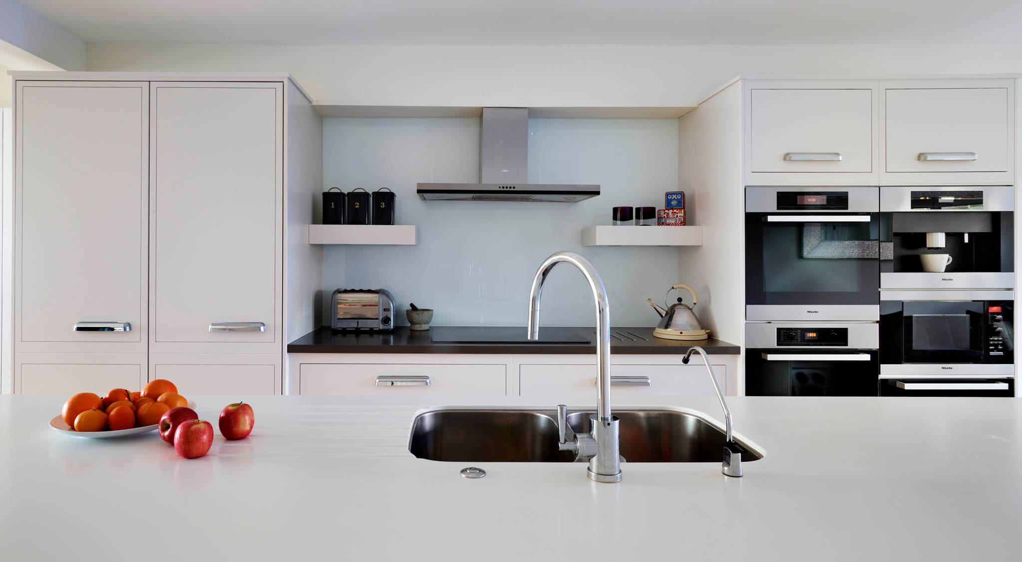 White Open-Plan Linear Kitchen