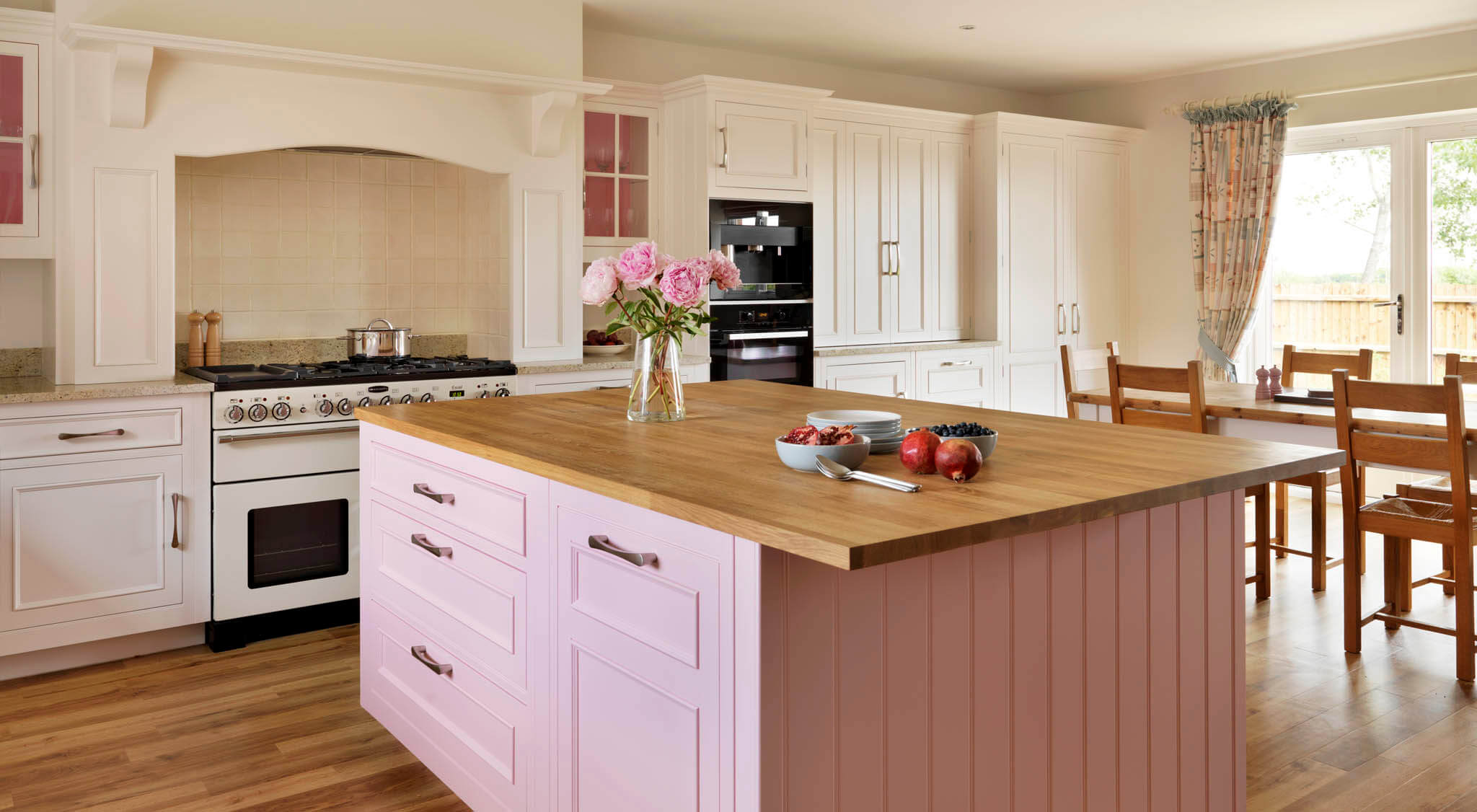 Handpainted Pink And Cream Original Kitchen