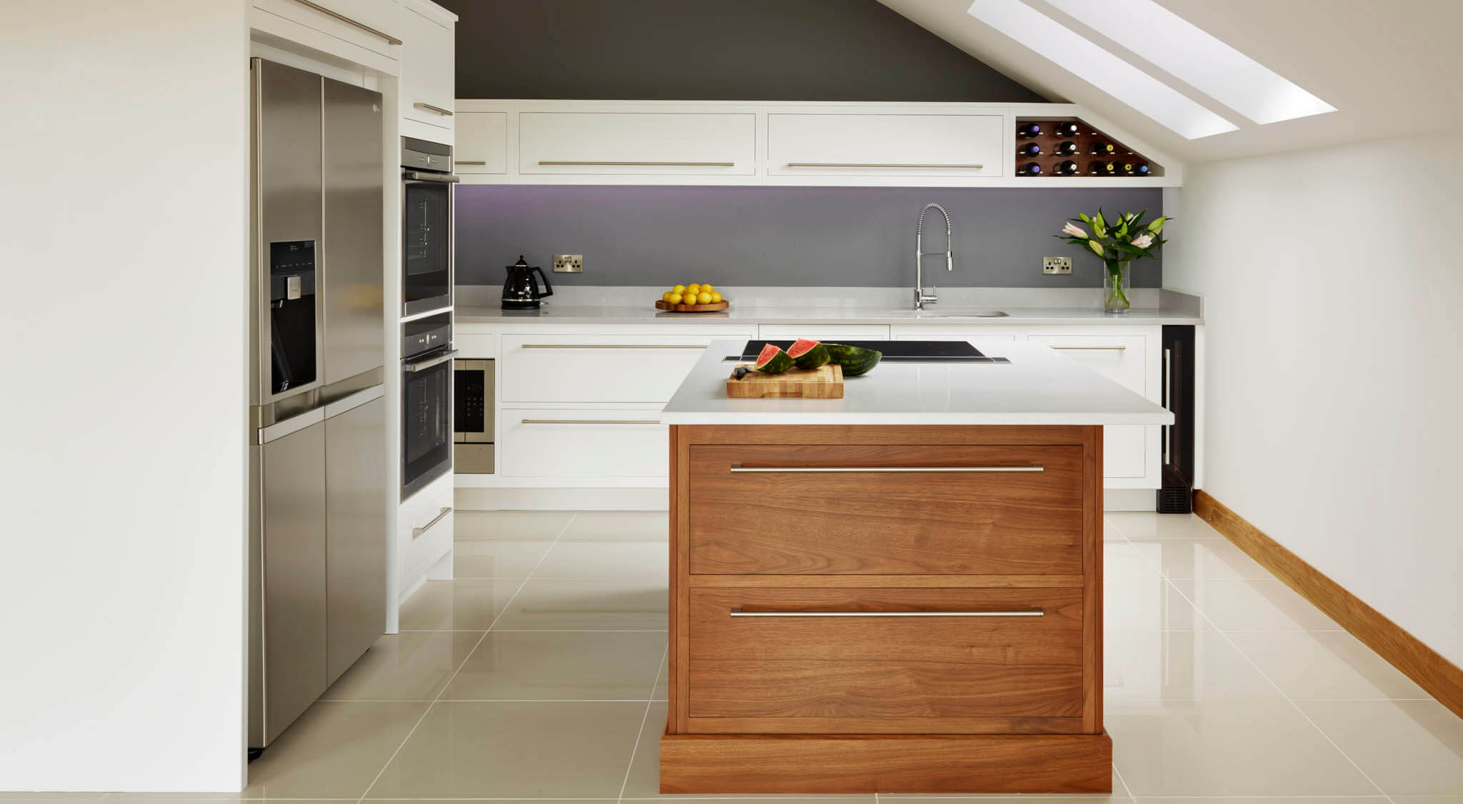 Linear Kitchen With Walnut Island