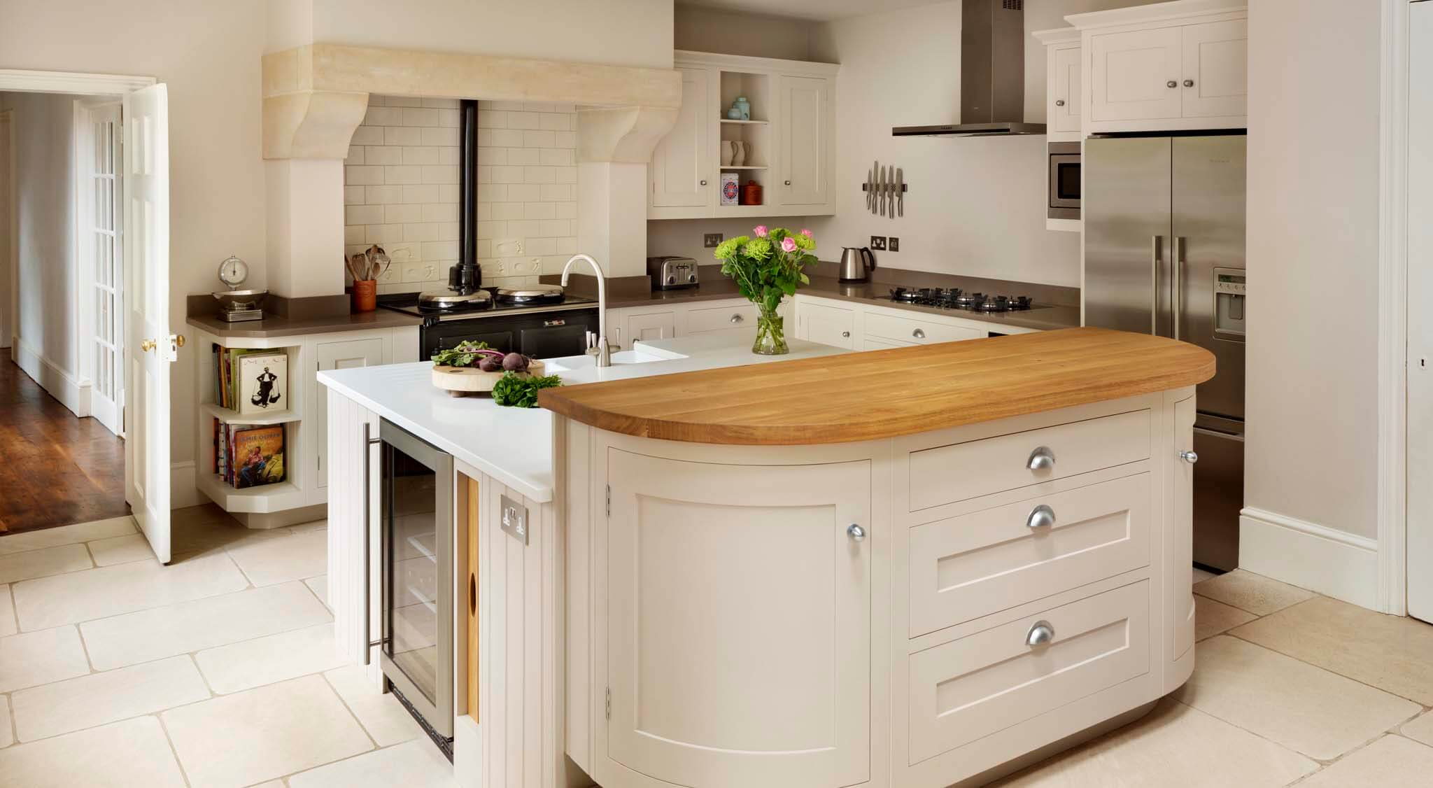 Painted Shaker Kitchen With Curved Island